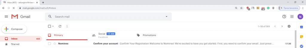 Registering at Nominex step 5
