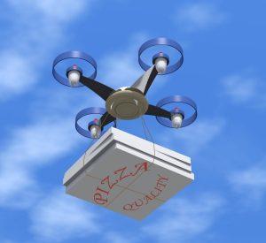 Drones delivering pizzas