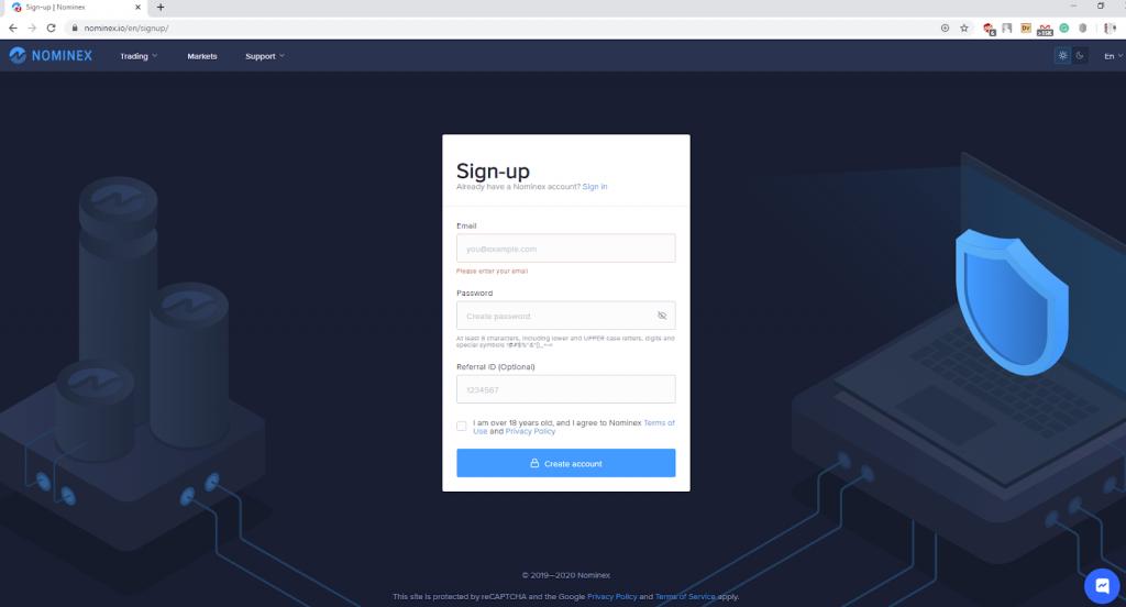Registering at Nominex step 2